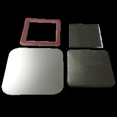 Kit de botton espelho 51 quadrado com aro ABS pct 50un tampa de alumínio